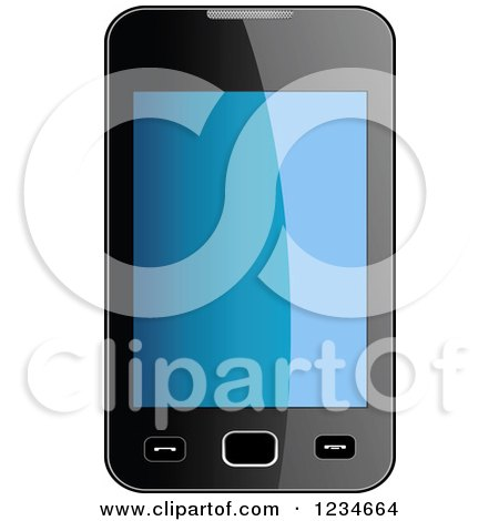 Clipart of a 3d Smart Phone with a Reflective Screen - Royalty Free Vector Illustration by Vector Tradition SM