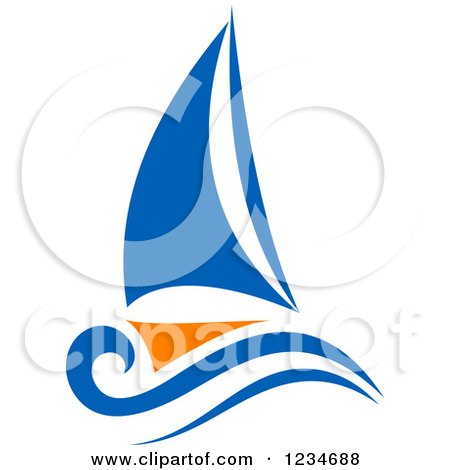 Clipart of a Blue and Orange Sailboat 4 - Royalty Free Vector Illustration by Vector Tradition SM