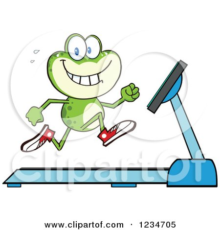 Clipart of a Frog Character Running on a Treadmill - Royalty Free Vector Illustration by Hit Toon