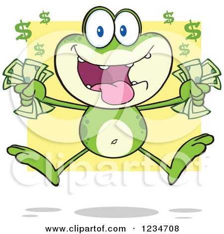 Clipart of a Rich Frog Character Jumping with Cash Money over Yellow - Royalty Free Vector Illustration by Hit Toon
