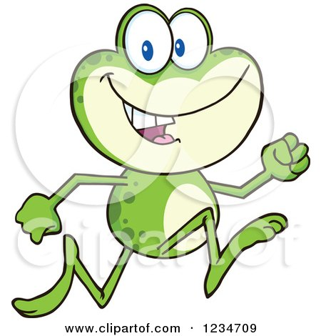 Clipart of a Frog Character Running - Royalty Free Vector Illustration by Hit Toon