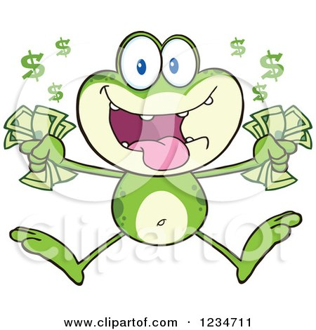 Clipart of a Rich Frog Character Jumping with Cash Money - Royalty Free Vector Illustration by Hit Toon