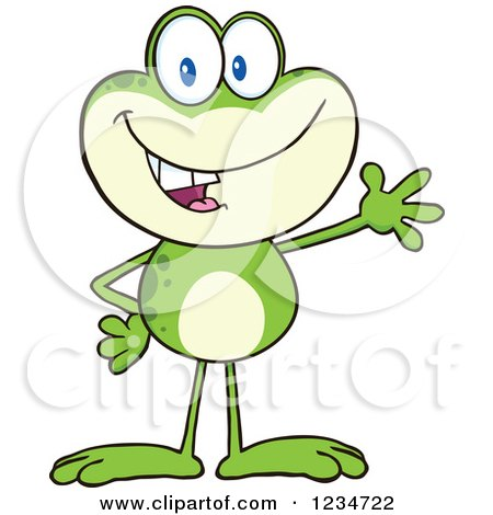 Clipart of a Presenting Frog Character - Royalty Free Vector Illustration by Hit Toon