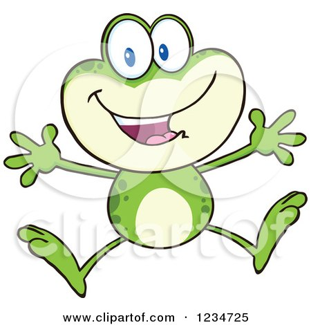 Clipart of a Happy Frog Character Jumping - Royalty Free Vector Illustration by Hit Toon