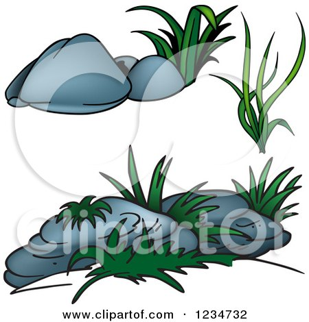 Clipart of Green Plants and Boulders - Royalty Free Vector Illustration by dero