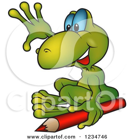 Clipart of a Happy Green Frog Waving and Sitting by a Colored Pencil - Royalty Free Vector Illustration by dero