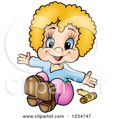 Clipart of a Happy Blond Girl Doll and Batteries - Royalty Free Vector Illustration by dero