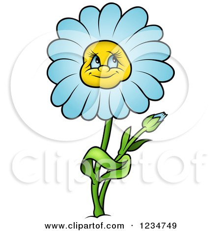 Clipart of a Blue Daisy Flower Character - Royalty Free Vector Illustration by dero