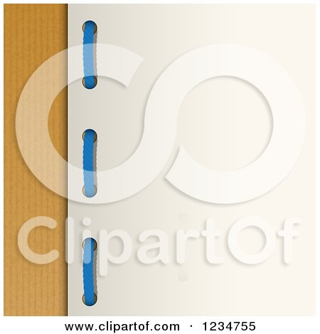 Clipart of Blue Yarn Through Holes in a Card over Brown Paper - Royalty Free Vector Illustration by elaineitalia
