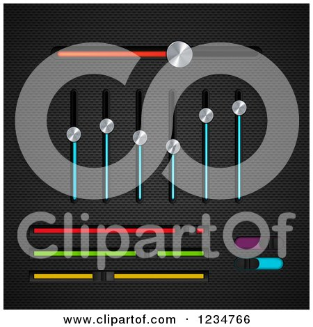 Clipart of 3d Chrome and Colorful Slider Equalizer and Bar Switches on Black Mesh - Royalty Free Vector Illustration by elaineitalia