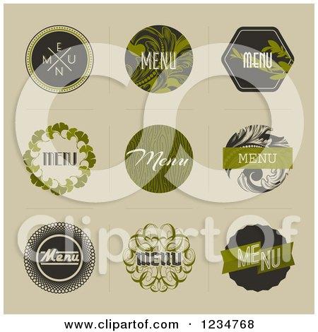 Clipart of Retro Green Leafy Menu Designs on Tan - Royalty Free Vector Illustration by elena
