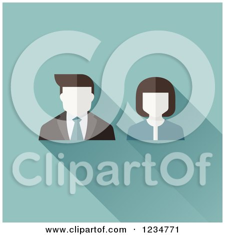 Clipart of Male and Female Avatar Users on Blue - Royalty Free Vector Illustration by elena