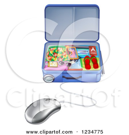 Clipart of a Computer Mouse Connected to a Vacation Suitcase - Royalty Free Vector Illustration by AtStockIllustration