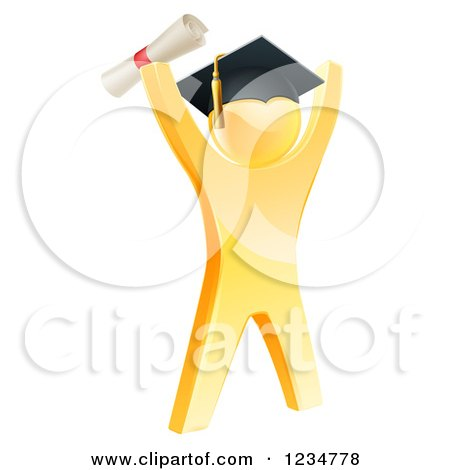 Clipart of a 3d Gold Man Graduate Cheering with a Diploma - Royalty Free Vector Illustration by AtStockIllustration