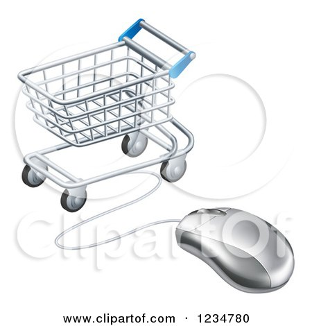 Clipart of a 3d Computer Mouse Wired to a Shopping Cart - Royalty Free Vector Illustration by AtStockIllustration