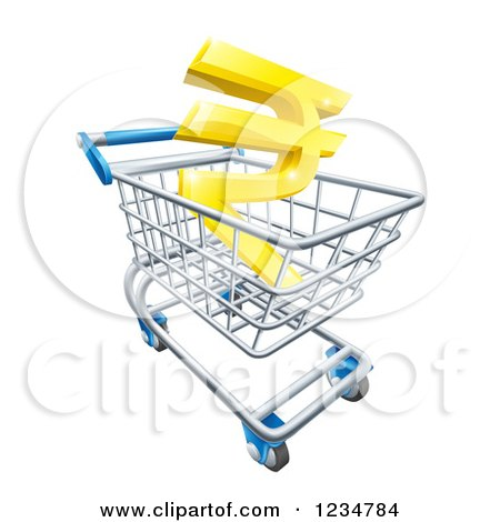 Clipart of a 3d Golden Rupee in a Shopping Cart - Royalty Free Vector Illustration by AtStockIllustration