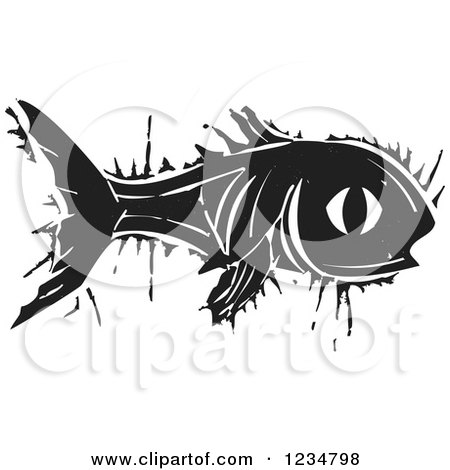 Clipart of a Black and White Woodcut Fish - Royalty Free Vector Illustration by xunantunich