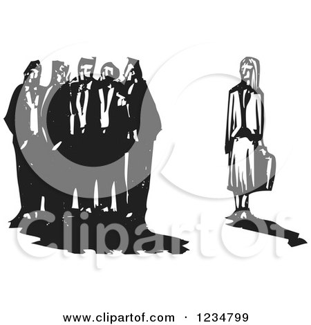 Clipart of a Black and White Woodcut Group of Men Excluding a Business Woman - Royalty Free Vector Illustration by xunantunich