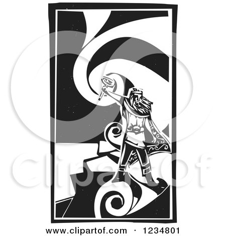 Clipart of a Black and White Woodcut God Thor Holding a Hammer over a Swirl - Royalty Free Vector Illustration by xunantunich