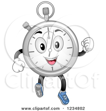 Clipart of a Happy Stopwatch Character Running - Royalty Free Vector Illustration by BNP Design Studio