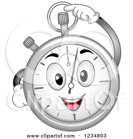Clipart of a Happy Stopwatch Character Pressing a Button - Royalty Free Vector Illustration by BNP Design Studio