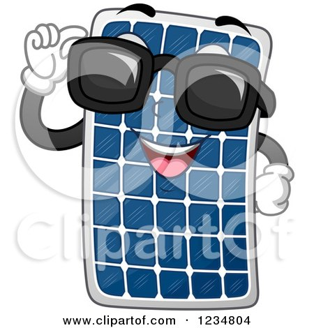 Clipart of a Happy Solar Panel Mascot Wearing Sunglasses - Royalty Free Vector Illustration by BNP Design Studio