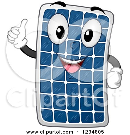 Clipart of a Happy Solar Panel Mascot Holding a Thumb up - Royalty Free Vector Illustration by BNP Design Studio