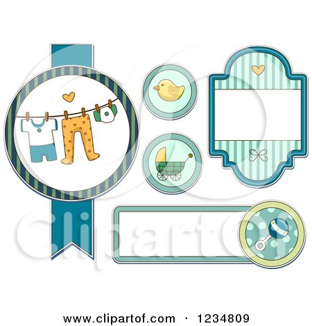 Clipart of Blue Baby Boy Labels and Designs - Royalty Free Vector Illustration by BNP Design Studio
