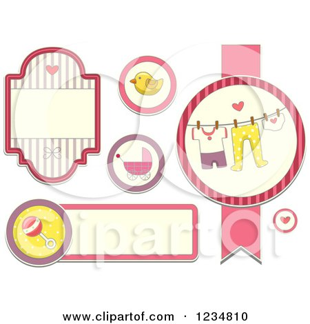Clipart of Pink Baby Girl Labels and Designs - Royalty Free Vector Illustration by BNP Design Studio
