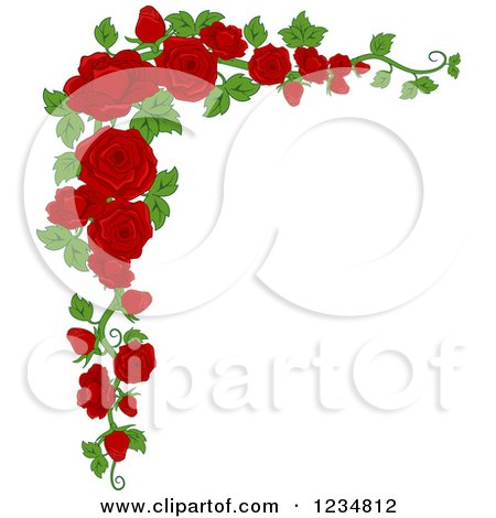 Clipart of a Corner Border of Beautiful Red Roses and Leaves - Royalty Free Vector Illustration by BNP Design Studio