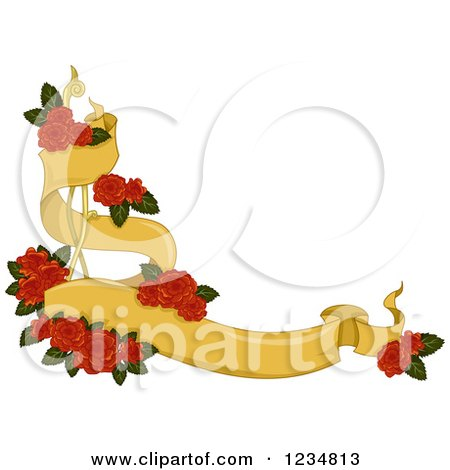 Clipart Of A Yellow Corner Ribbon Banner With Red Roses Royalty Free Vector Illustration