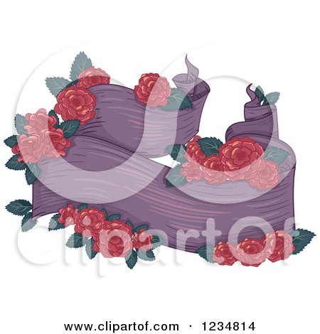 Clipart of a Purple Ribbon Banner with Red Roses - Royalty Free Vector Illustration by BNP Design Studio