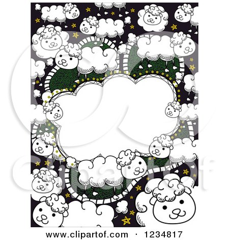 Clipart of a Doodled Counting Sheep Frame Background - Royalty Free Vector Illustration by BNP Design Studio