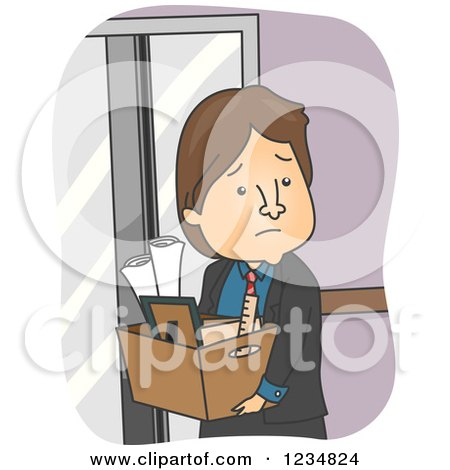 Clipart of a Sad Fired Caucasian Businessman Carrying His Box of Office Items - Royalty Free Vector Illustration by BNP Design Studio