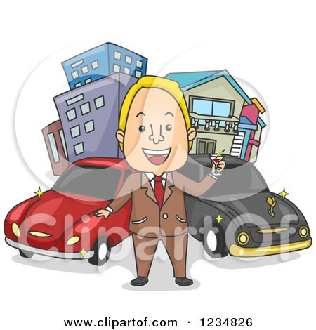 Clipart of a Rich Caucasian Man Toasting in Front of His Cars and Buildings - Royalty Free Vector Illustration by BNP Design Studio