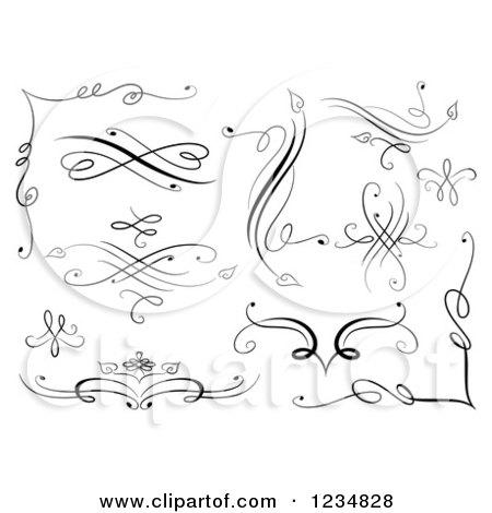 Clipart of Black Swirl Design Elements - Royalty Free Vector Illustration by BNP Design Studio