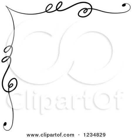 Clipart of a Black Upper Corner Swirl Design Element - Royalty Free Vector Illustration by BNP Design Studio