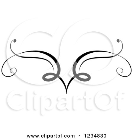 Clipart of a Black Swirl Design Element 9 - Royalty Free Vector Illustration by BNP Design Studio