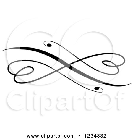 Clipart of a Black Swirl Design Element - Royalty Free Vector Illustration by BNP Design Studio