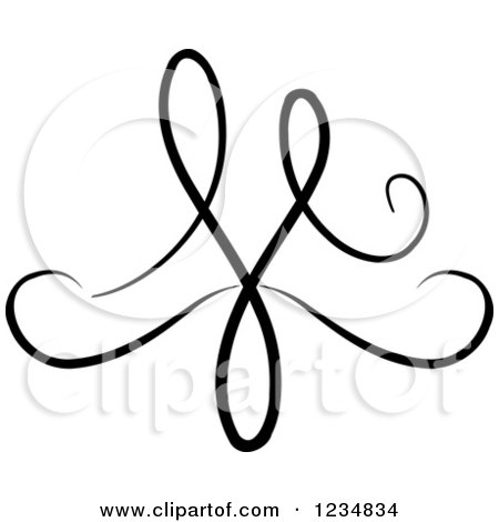 Clipart of a Black Swirl Design Element 3 - Royalty Free Vector Illustration by BNP Design Studio