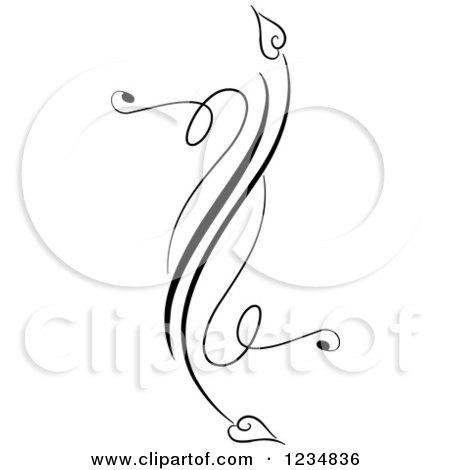 Clipart of a Black Swirl Design Element 5 - Royalty Free Vector Illustration by BNP Design Studio