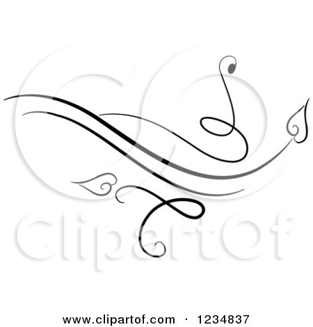Clipart of a Black Swirl Design Element 6 - Royalty Free Vector Illustration by BNP Design Studio