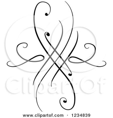 Clipart of a Black Swirl Design Element 8 - Royalty Free Vector Illustration by BNP Design Studio