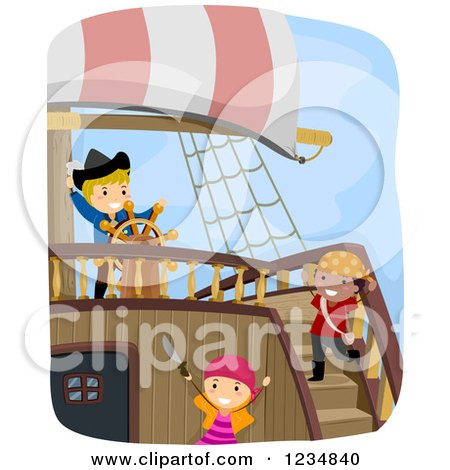 Clipart of Pirate Kids and Captain on a Ship - Royalty Free Vector Illustration by BNP Design Studio