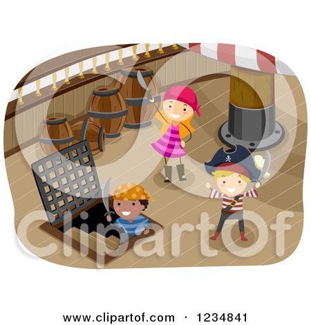 Clipart of Pirate Kids and Captain on a Ship Deck - Royalty Free Vector Illustration by BNP Design Studio