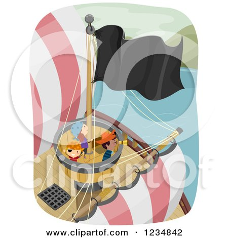 Clipart of Pirate Kids in a Ships Crows Nest - Royalty Free Vector Illustration by BNP Design Studio