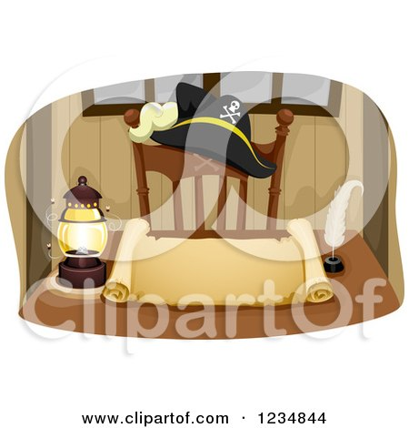 Clipart of a Pirate Captain Hat and Lantern by a Blank Parchment Scroll - Royalty Free Vector Illustration by BNP Design Studio