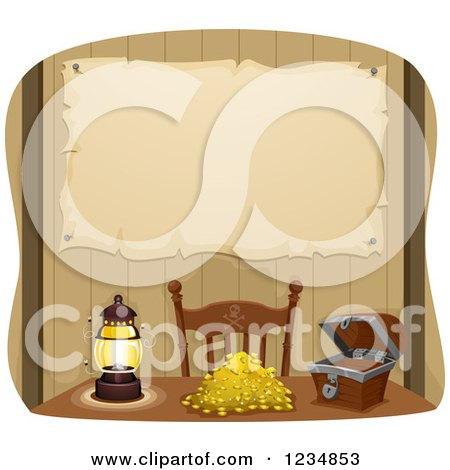 Clipart of a Parchment Map Pinned Behind a Pirate Table with Gold Treasure - Royalty Free Vector Illustration by BNP Design Studio