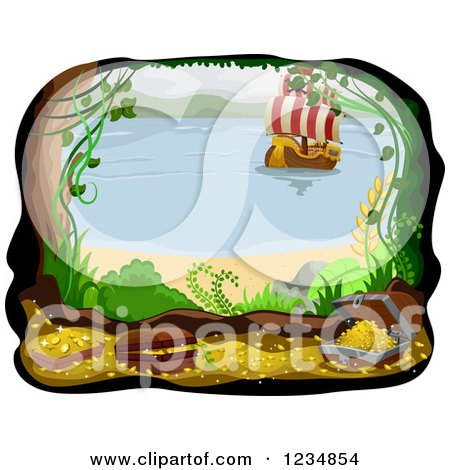 Clipart of a Beachfront Cave with Treasure and an Approaching Pirate Ship - Royalty Free Vector Illustration by BNP Design Studio