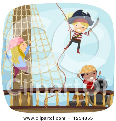 Clipart of Pirate Kids on a Ship Deck - Royalty Free Vector Illustration by BNP Design Studio